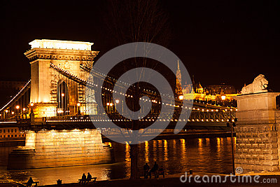 Night bridge in Budapest Editorial Image
