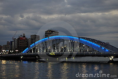Night bridge - Eitai bashi bridge Editorial Photo