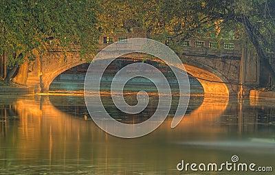 Night bridge in a park