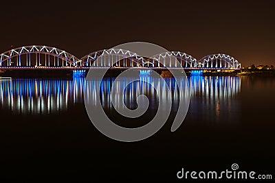 Night bridge in Riga