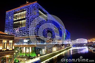 Night building near river