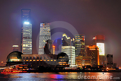 Night buildings of Pudong in Shanghai, China