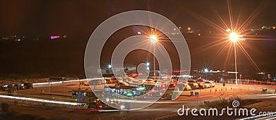 Night bus station Editorial Stock Image