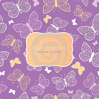 Night butterflies frame seamless pattern