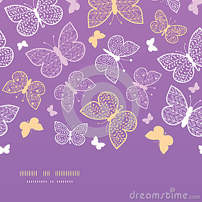 Night butterflies horizontal seamless pattern