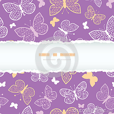 Night butterflies torn frame seamless pattern