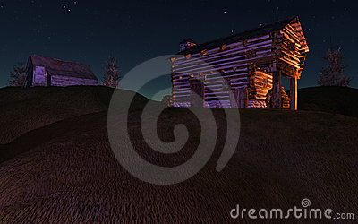 Night Cabin on Hill