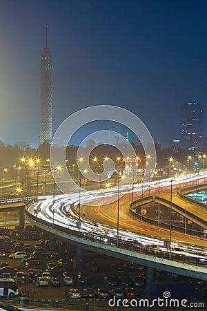 Night Cairo Editorial Stock Photo
