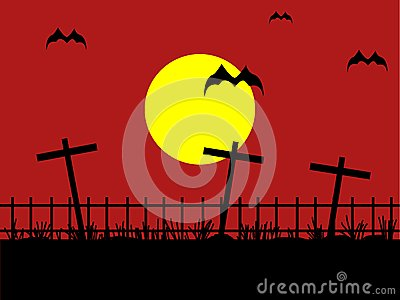 Night cemetery with bat against the dark red sky