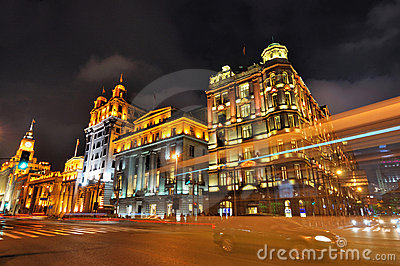Night of China Shanghai Bund street and buildings