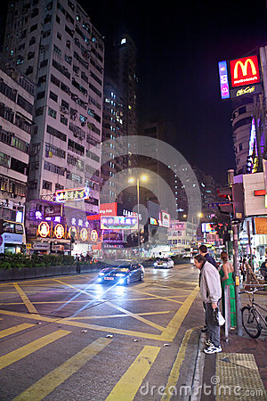 night city life of Hong Kong Editorial Photography