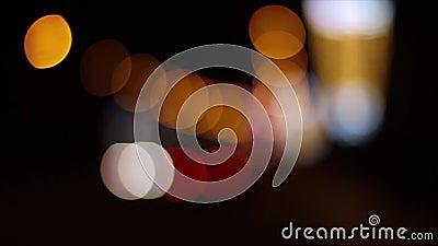 Night city street lights bokeh stock video