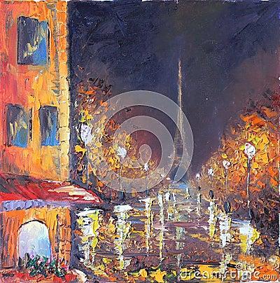 Free Night City. Yellow Old Buildings. White Lights. Rain. Stock Photo - 61370020