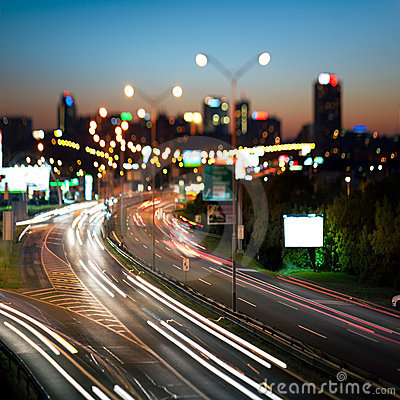 Night cityscape and highway,