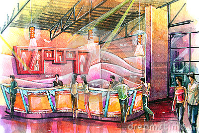 night club bar water color illustration