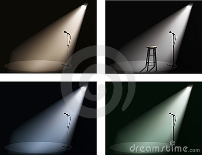 Night club with spotlight and microphone