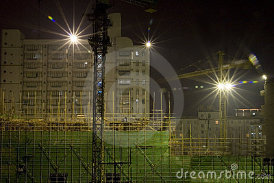 Night  construction site