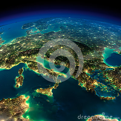 Free Night Earth. A Piece Of Europe - Italy And Greece Royalty Free Stock Photography - 39342317