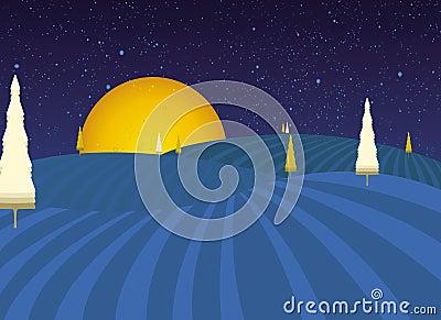 Night fairytale landscape