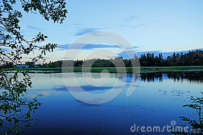 Night fall on a pond