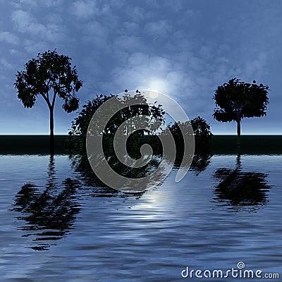 Night fantasy landscape