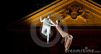 Night Festival: Flying Dancing Couples Editorial Stock Image