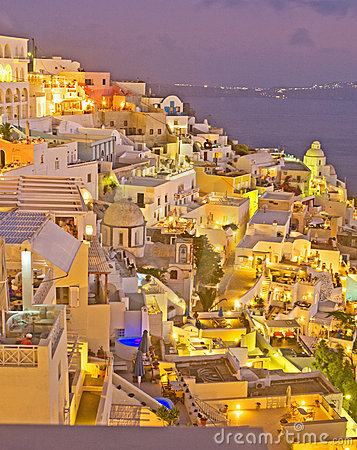 Night in Fira Santorini, Greece. Editorial Stock Photo