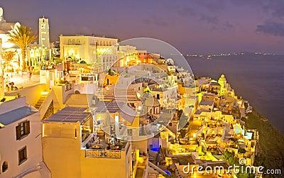 Night in Fira Santorini, Greece. Editorial Stock Image