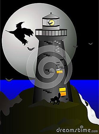 Night flight over the seas at Halloween