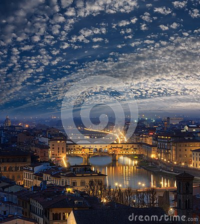 Free Night Florence Top View, Italy Royalty Free Stock Photo - 144167035