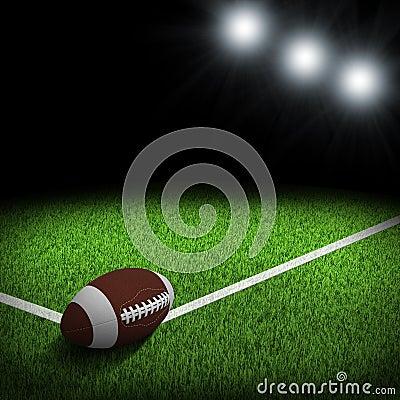 Night football arena illuminated by spotlights