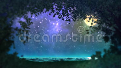 Night forest loop. Entrancing magical night landscape lawn from the woods, the night of the lake, clear sky with constellations and the moon