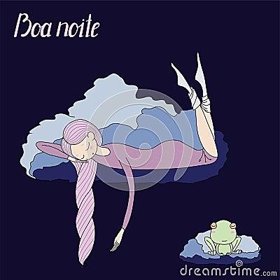 Night girl frog Vector Illustration