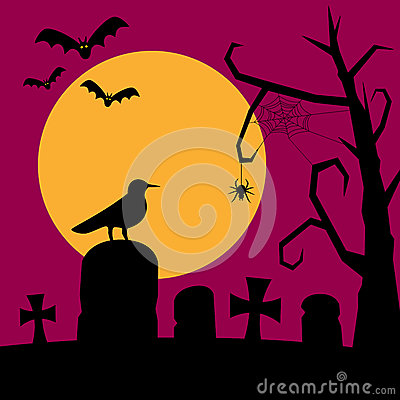 Night Graveyard Background