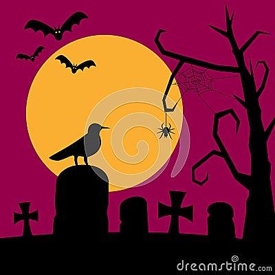 Night Graveyard Background