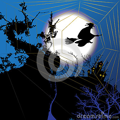 Free Night Halloween Background With Witch Stock Photos - 63822853