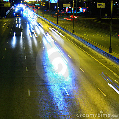 Night highway with car traffic