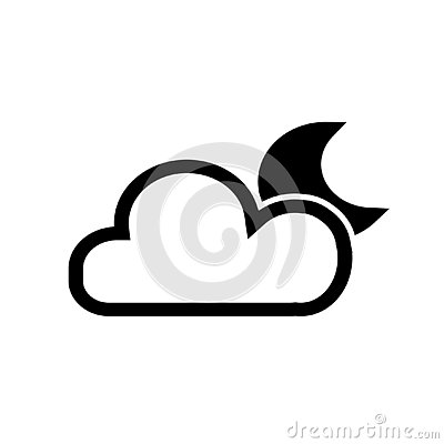 Night icon, moon cloud and star vector Vector Illustration
