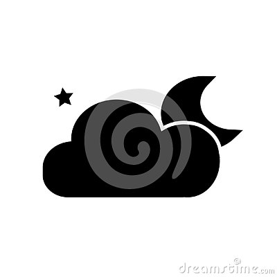 Night icon, moon cloud and stars, vector illustration isolated on white background Vector Illustration