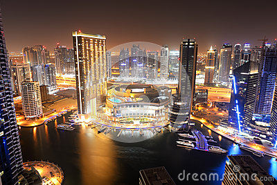 The night illumination of Dubai Marina Editorial Image