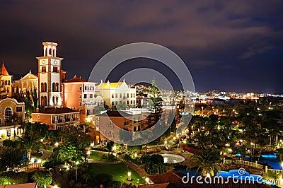 Night illumination of luxury hotel during sunset