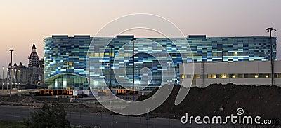 Night illumination of the Olympic Winter Palace of Sports
