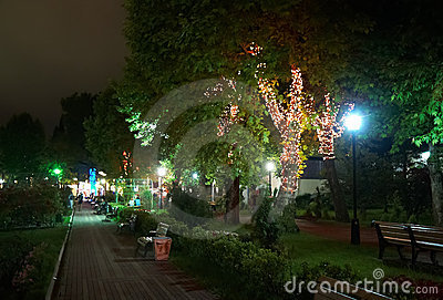 Night illumination in Park Riviera , Sochi city