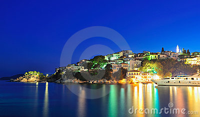 Night image from the island of Skiathos, Greece