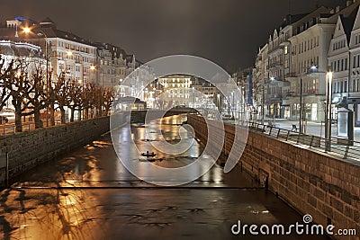 Night Karlovy Vary cityscape