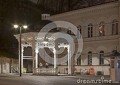 Night Karlovy Vary cityscape with Pramen Svoboda h Editorial Photo