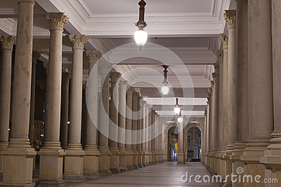 Night Karlovy Vary Mill Colonnade