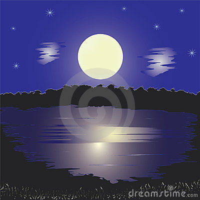 Night landscape with lake and full moon,