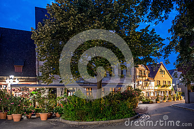 Night landscape of the Nuremberg town.