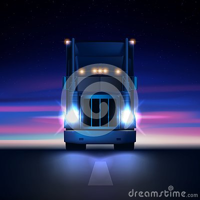 Free Night Large Classic Big Rig Semi Truck Headlights Dry Van Semi Riding In Dark Night Road On Colorful Starry Sky Background Royalty Free Stock Photos - 130269798